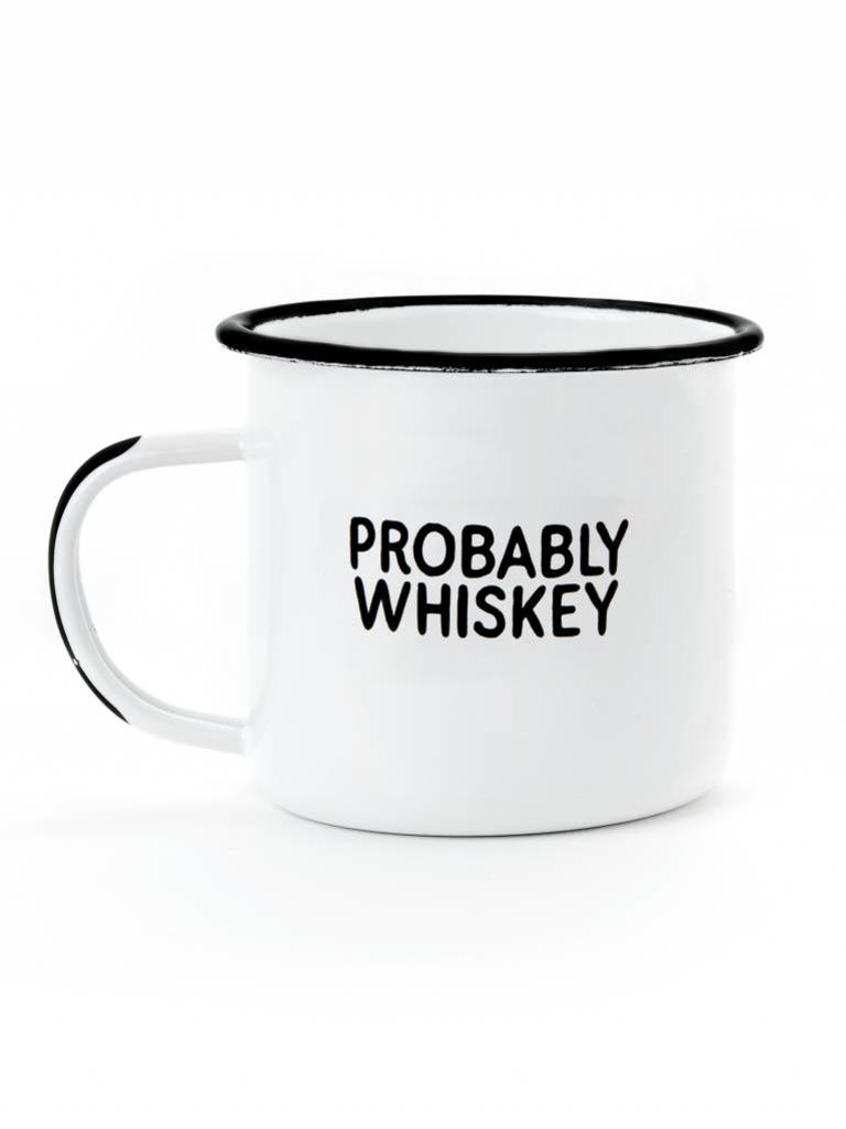 Frances Boutique Holiday Gifts for dog moms Enamel Mug, Probably Whiskey