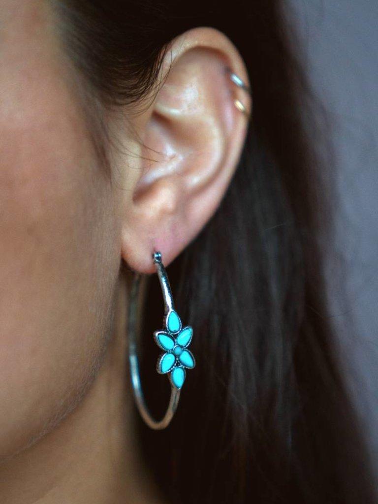 Turquoise Flower Hoop Earrings