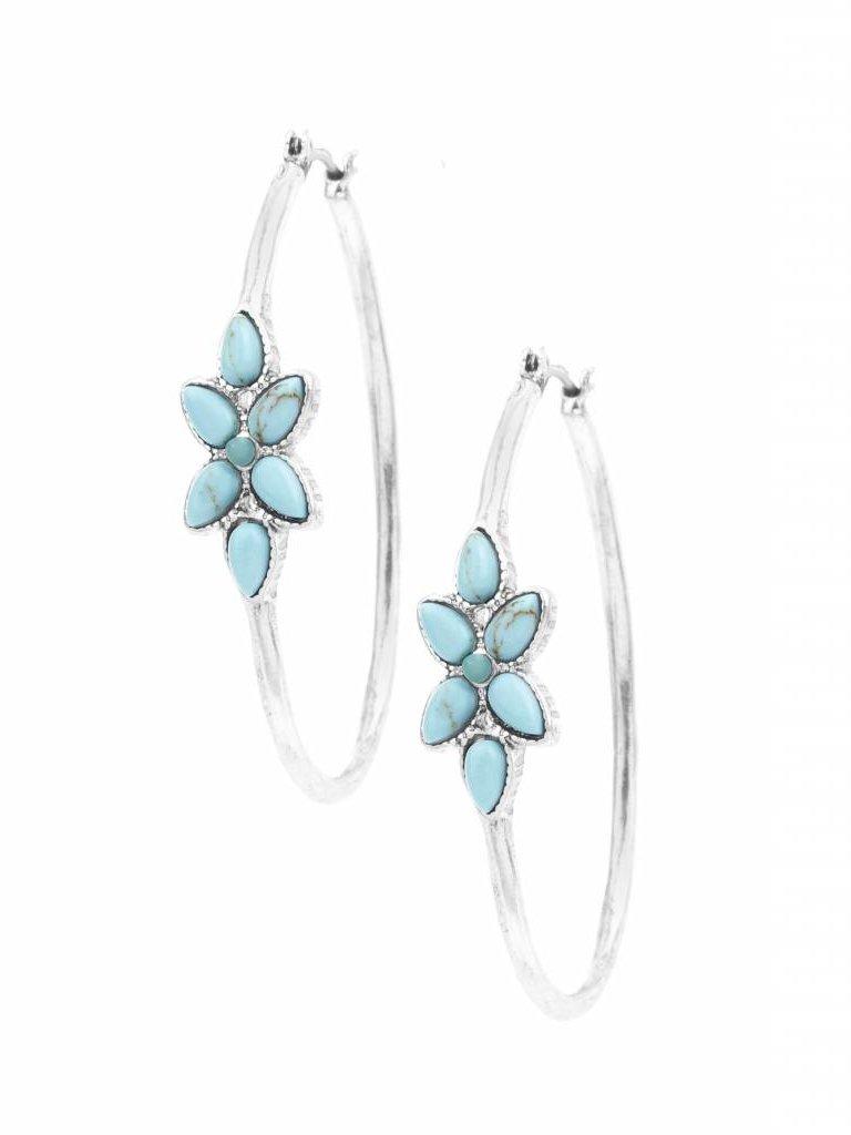 Turquoise Flower Hoop Frances