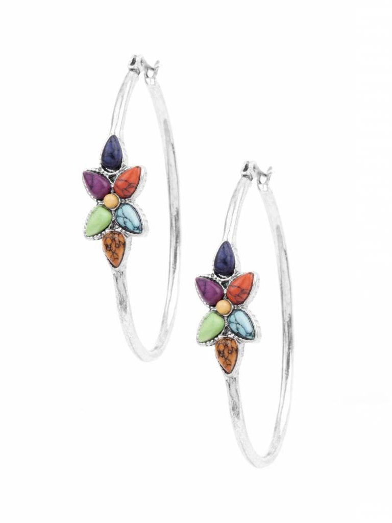 Multi-Stone Flower Hoop Earrings