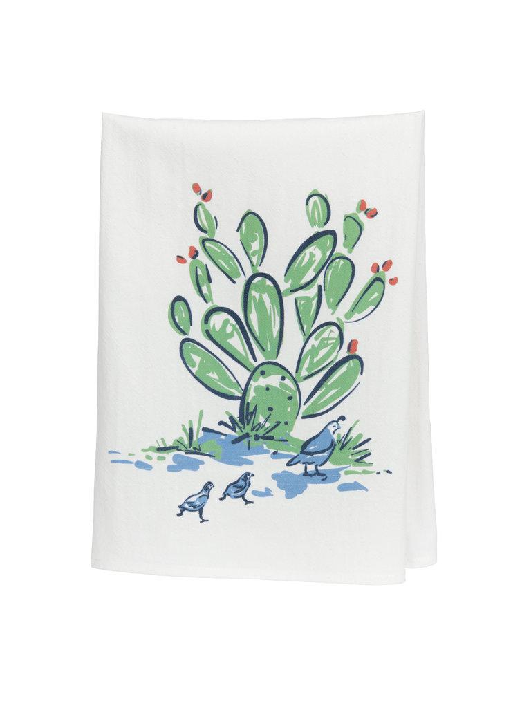 Cactus & Quail Tea Towel