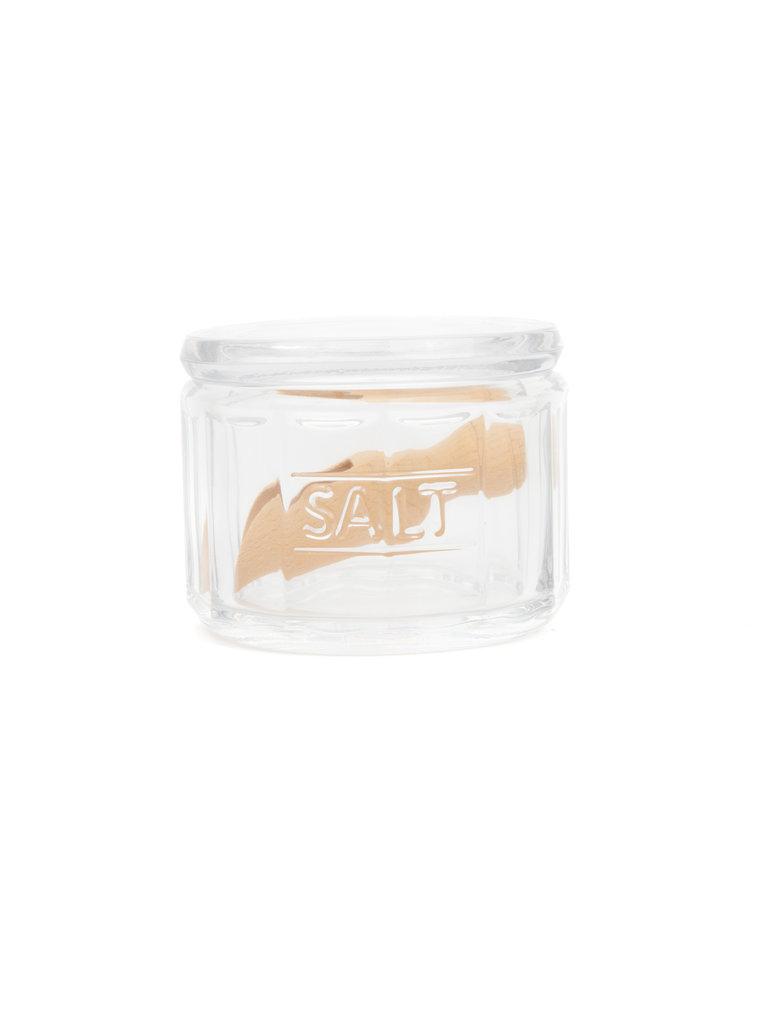 Glass Salt Pot & Wooden Scoop