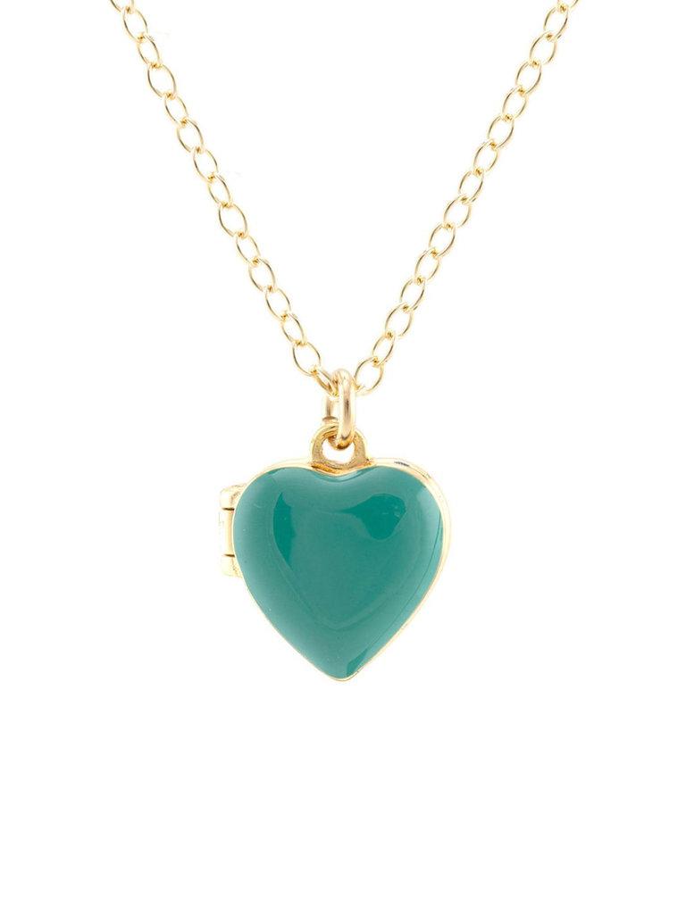 Enamel Heart Locket Necklace, Turquoise