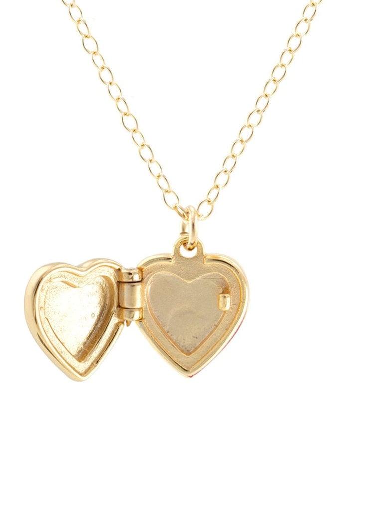 Enamel Heart Locket Necklace, Pink