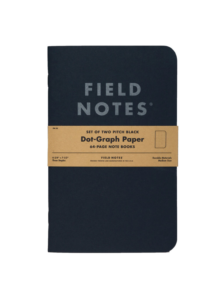 Field Notes Pitch Black Notebooks, Dot Graph