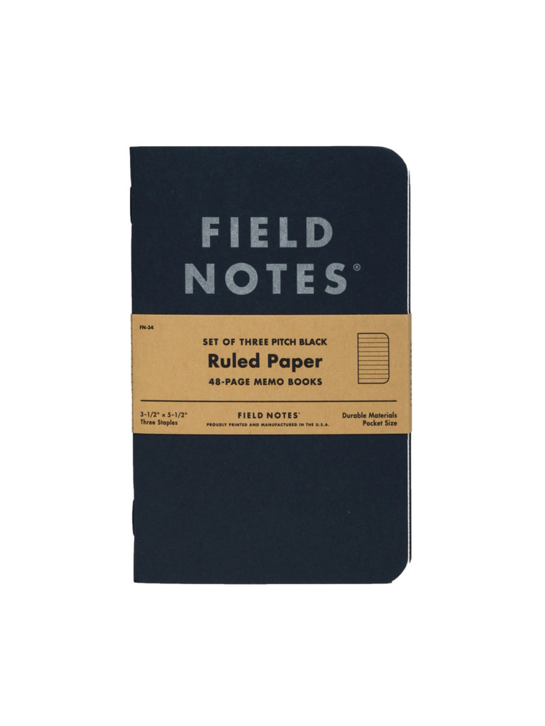 Field Notes Pitch Black Memo Books, Ruled