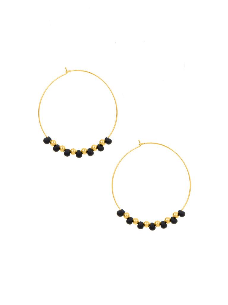 Bayas Hoop Earrings, Black