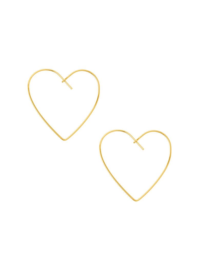 Heart Hoop Earrings, Gold