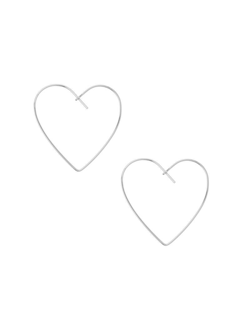 Heart Hoop Earrings, Silver