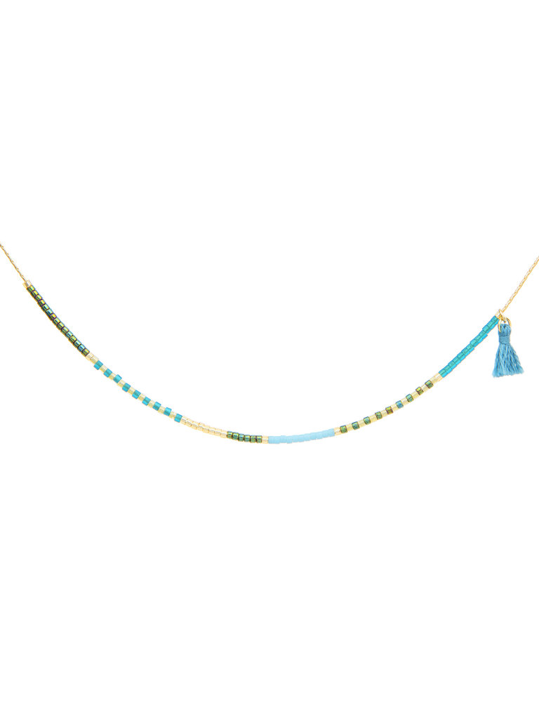 Japanese Seed Bead Necklace, Seashore & Succulent