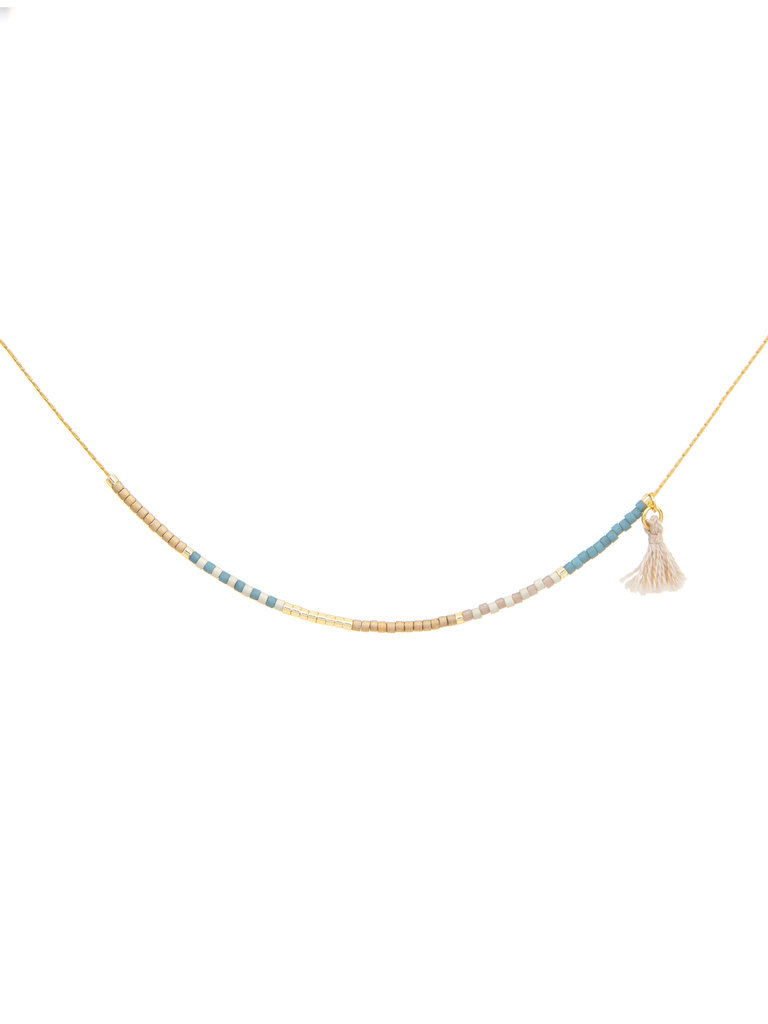 Japanese Seed Bead Necklace, Sky & Sand