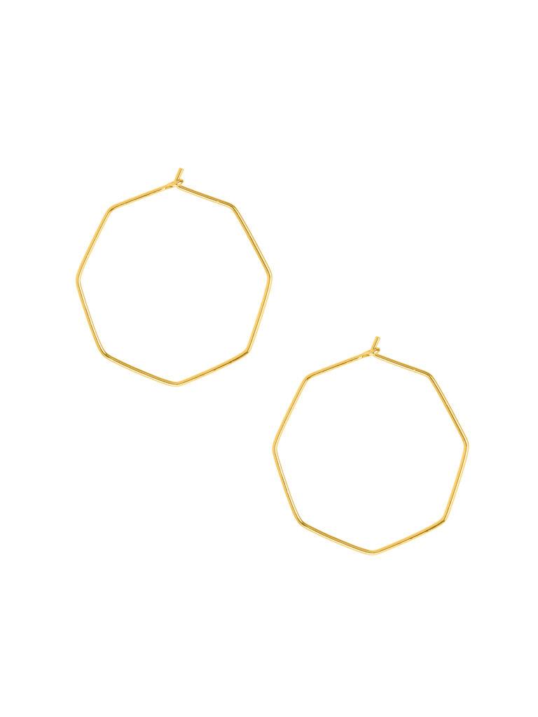 Octagon Hoop Earrings, Gold