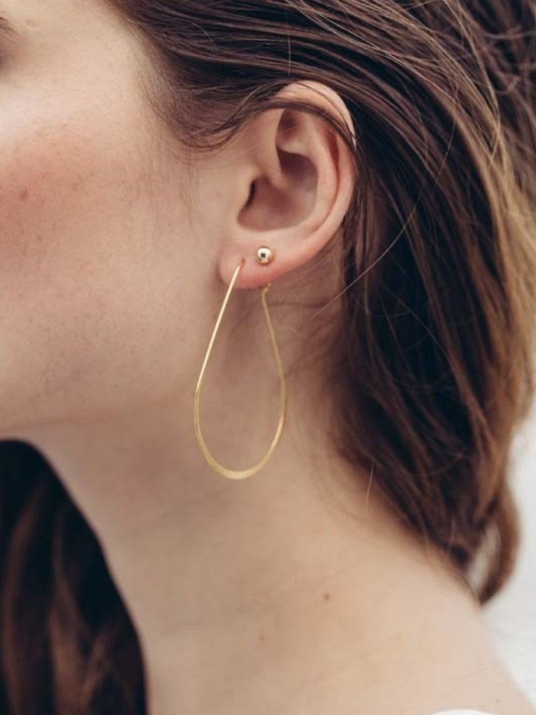 Teardrop Hoop Earrings, Gold