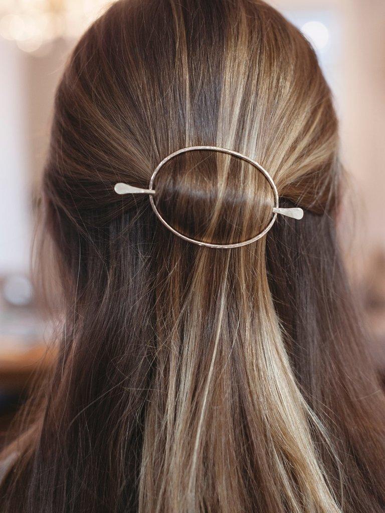 Silver Oval Hair Slide