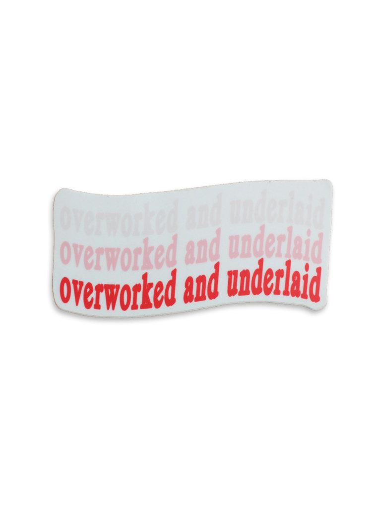 Overworked Sticker, Pink