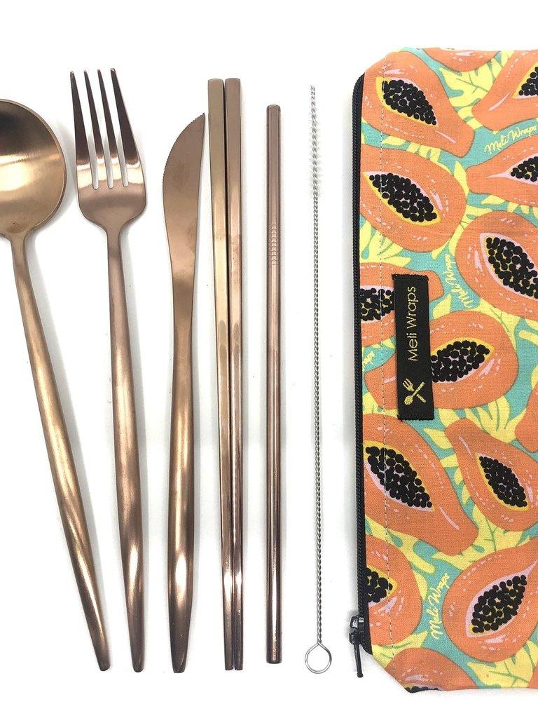 Reusable Cutlery Pack Tropical Papaya