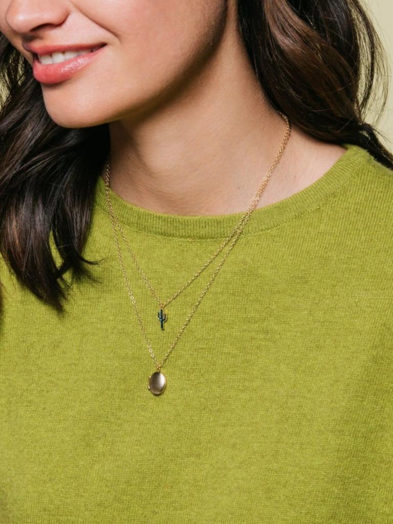Enamel Cactus Necklace