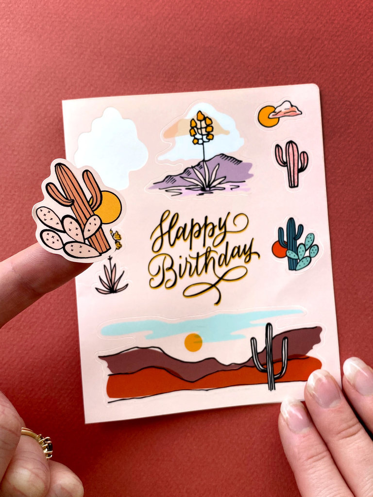 Cactus Birthday Sticker Card