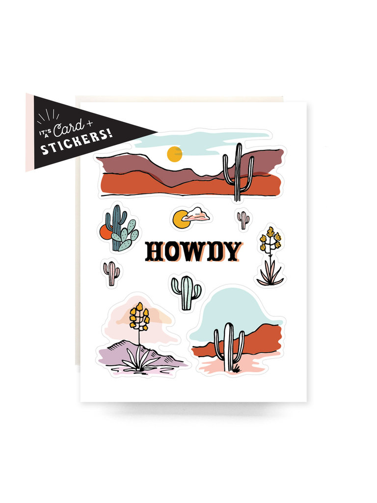 Howdy Cactus Sticker Card