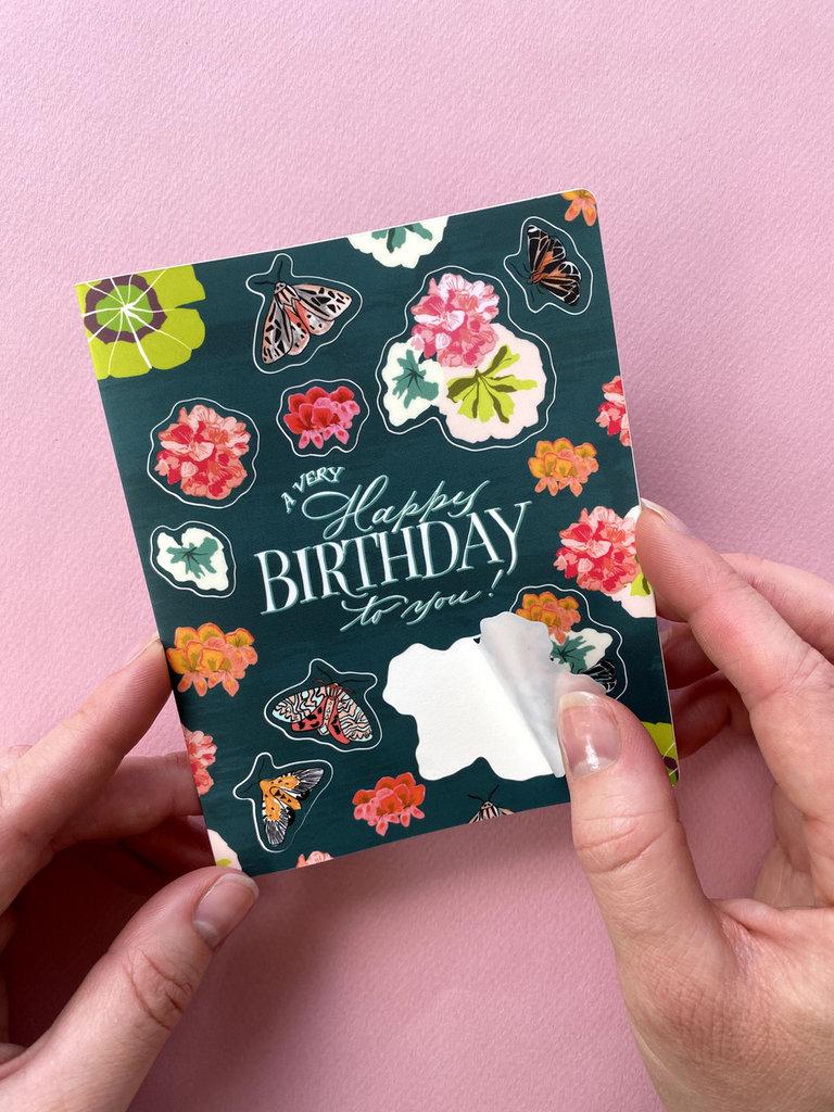 Geranium Birthday Sticker Card