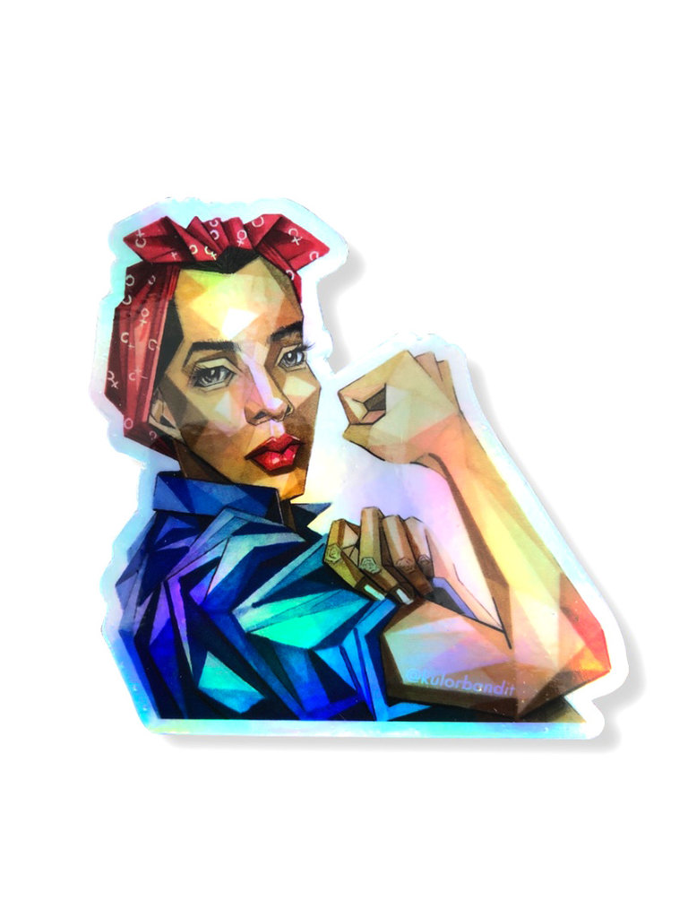 Rosie The Riveter Holographic Sticker