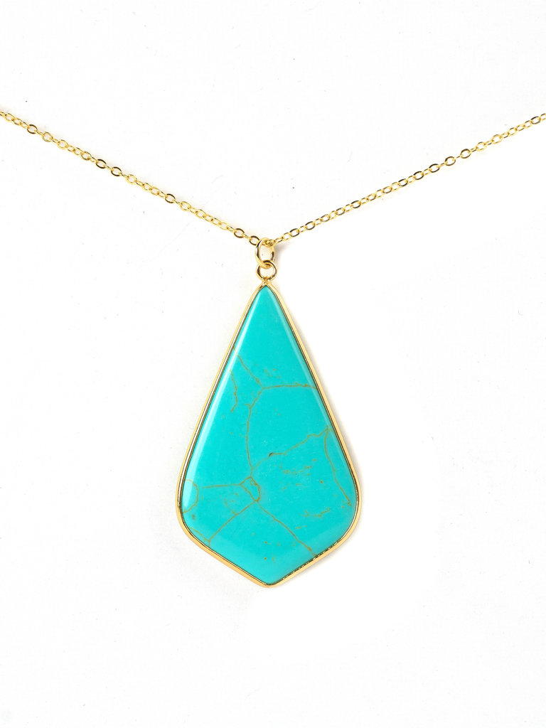 Turquoise Pointed Tear Drop Necklace