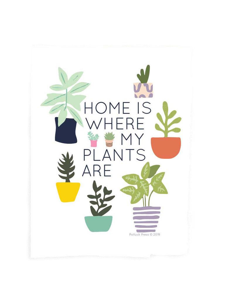 Where My Plants Are Tea Towel
