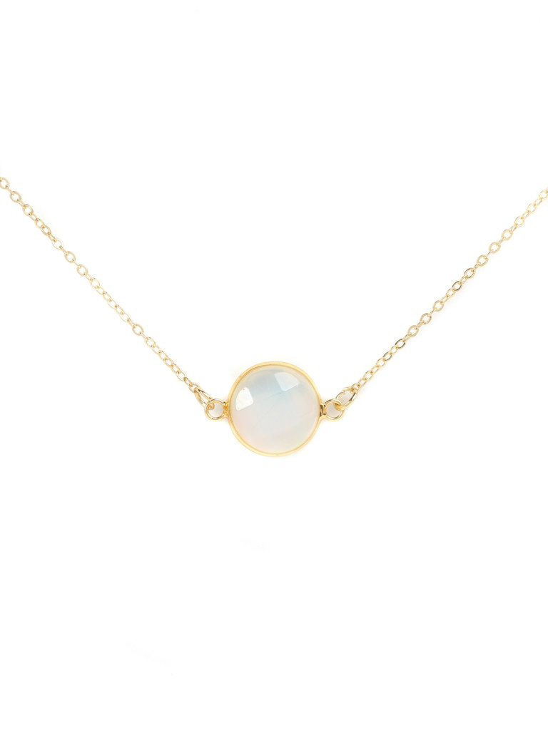 Gold Round Opal Stone Necklace