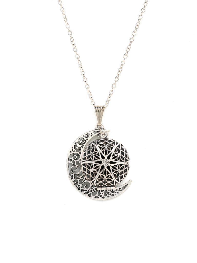 Moon Diffuser Locket Necklace