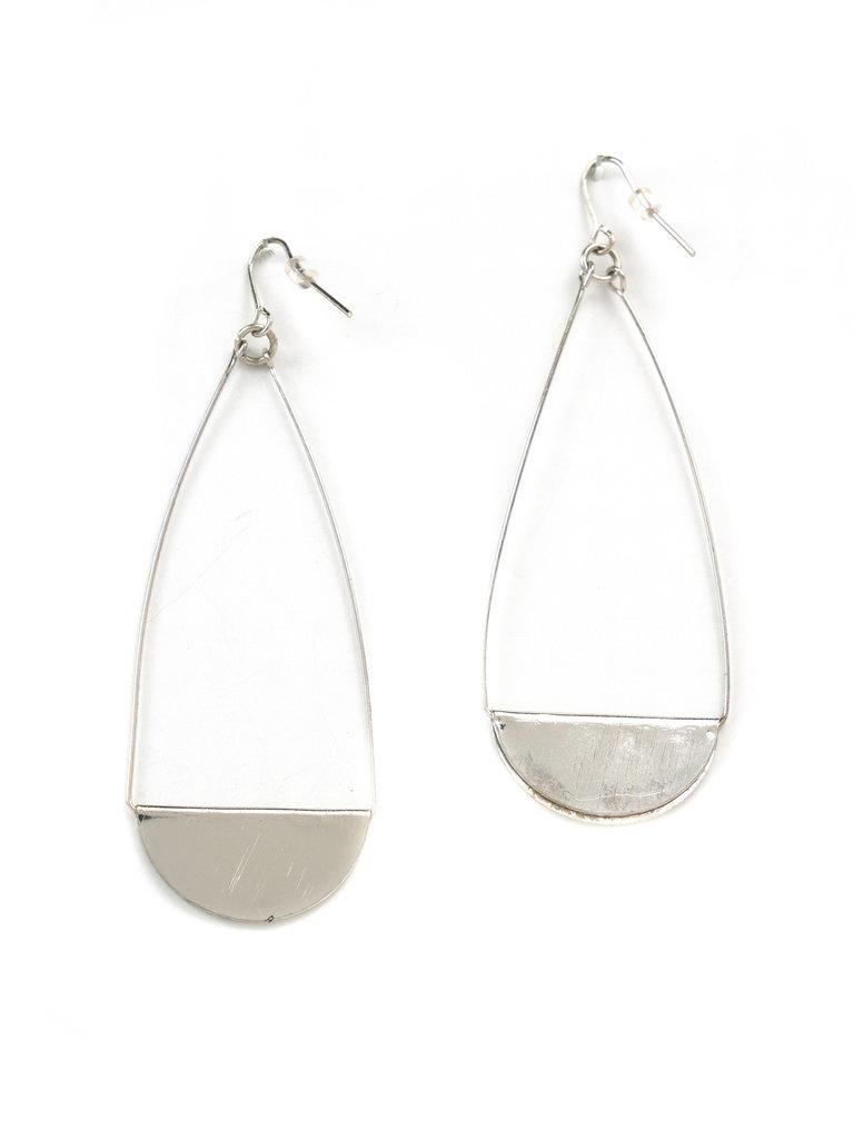 Foldover Teardrop Earrings Silver