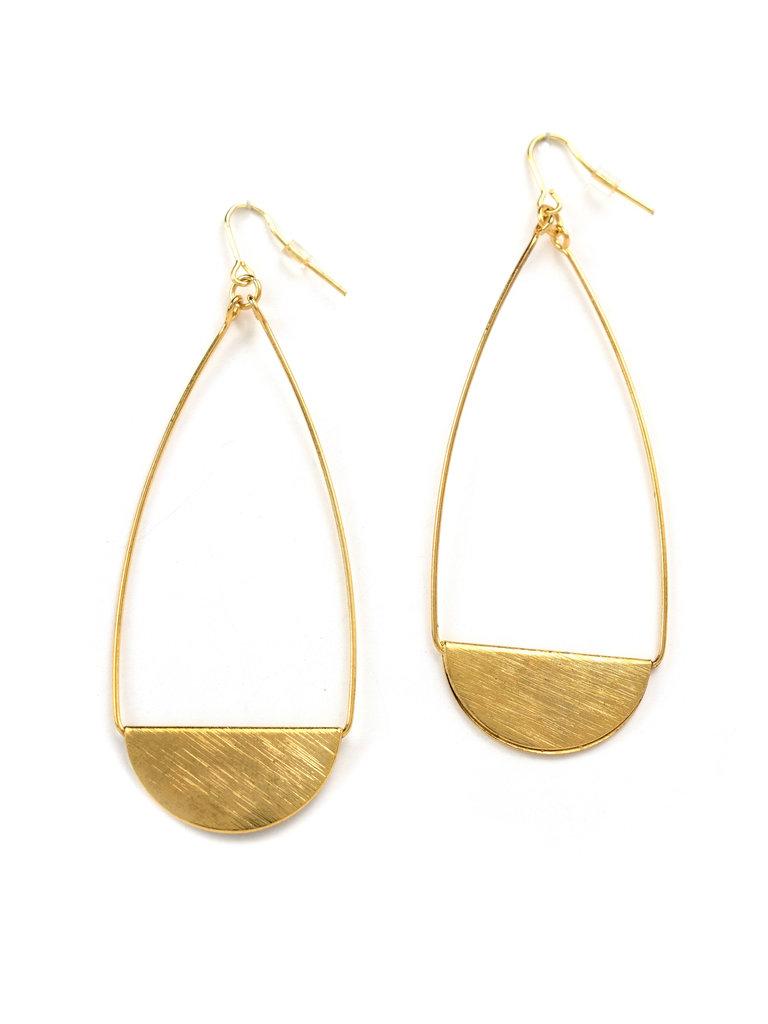 Foldover Teardrop Earrings Gold