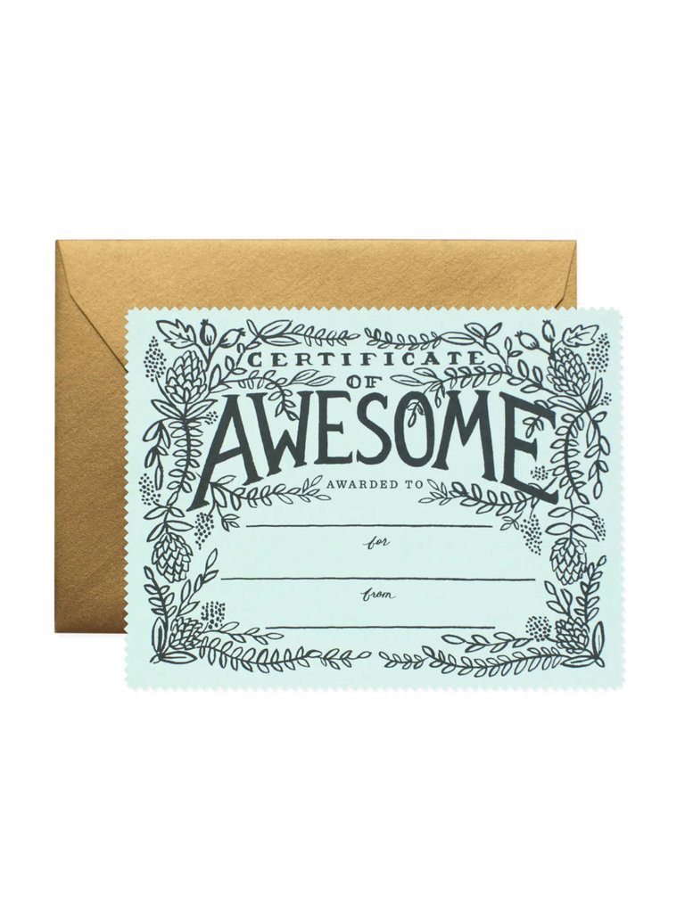 Certificate of Awesome Greeting Cards