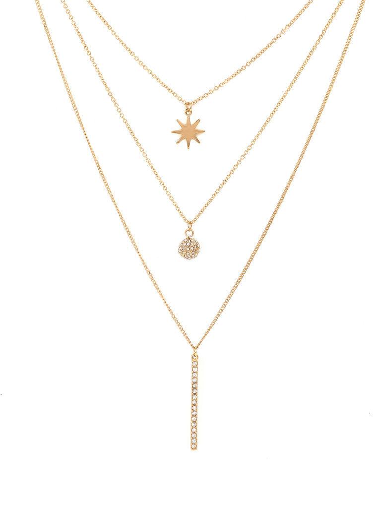 Crystal Gold Layer Necklace