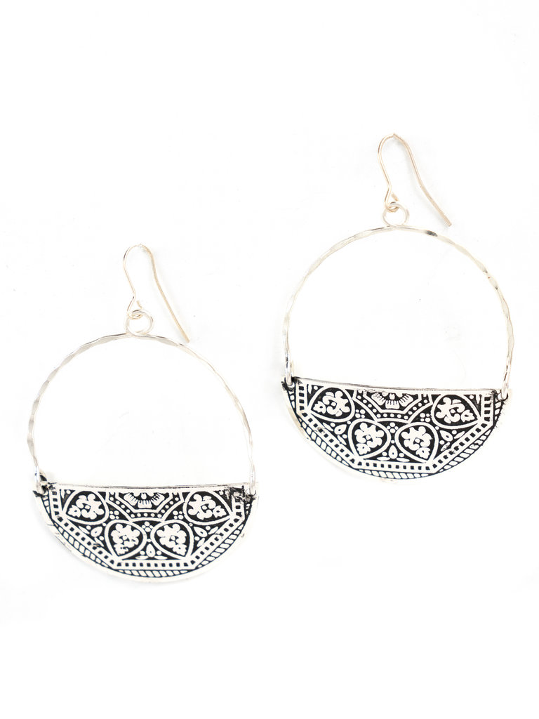 Silver Embossed Half Circle Earrings