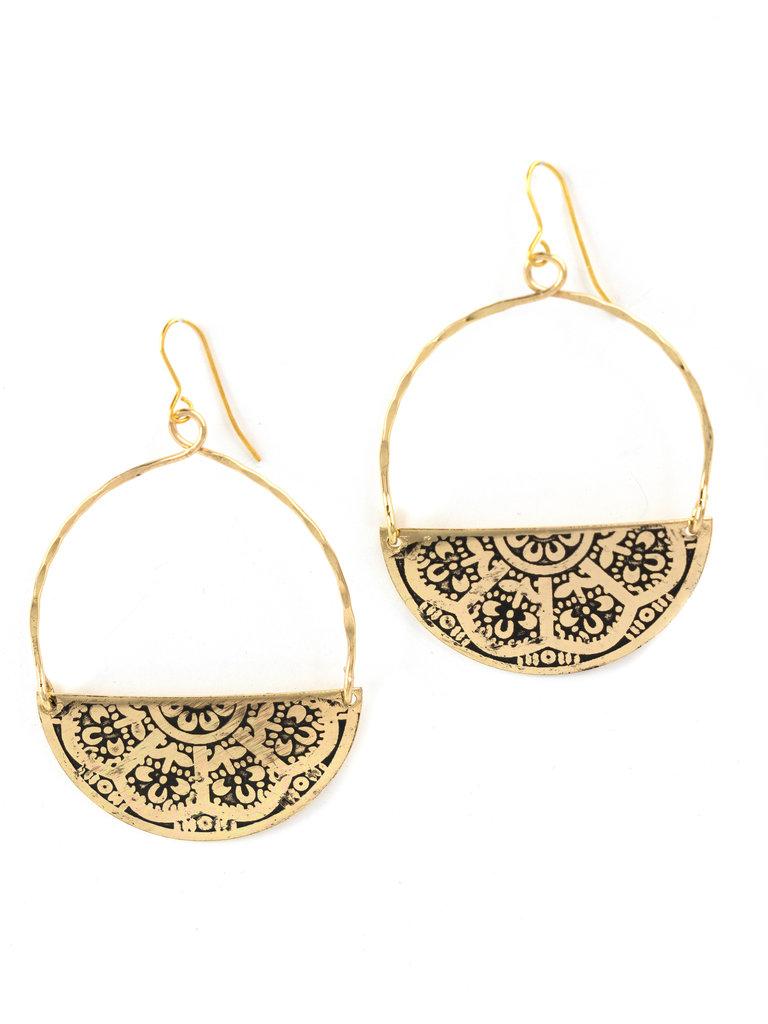 Gold Embossed Half Circle Earrings