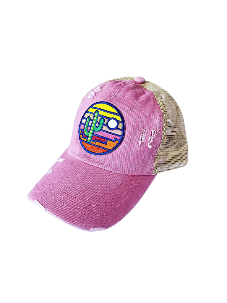 Stained Glass Sunset Ponytail Hat