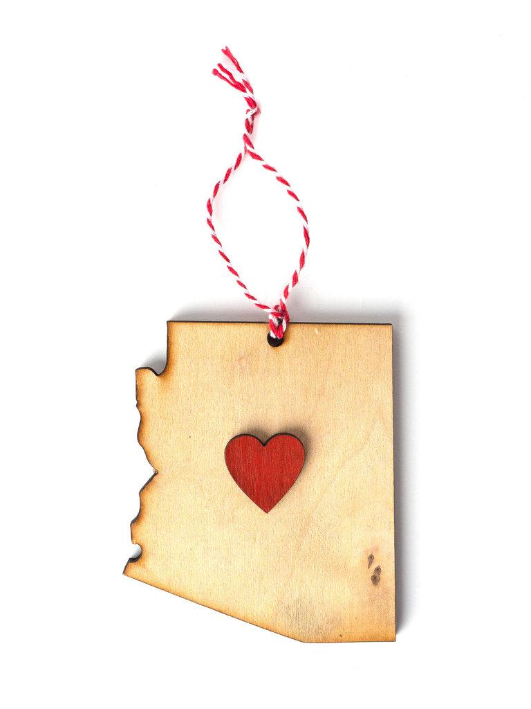 Wood Arizona Heart Ornament
