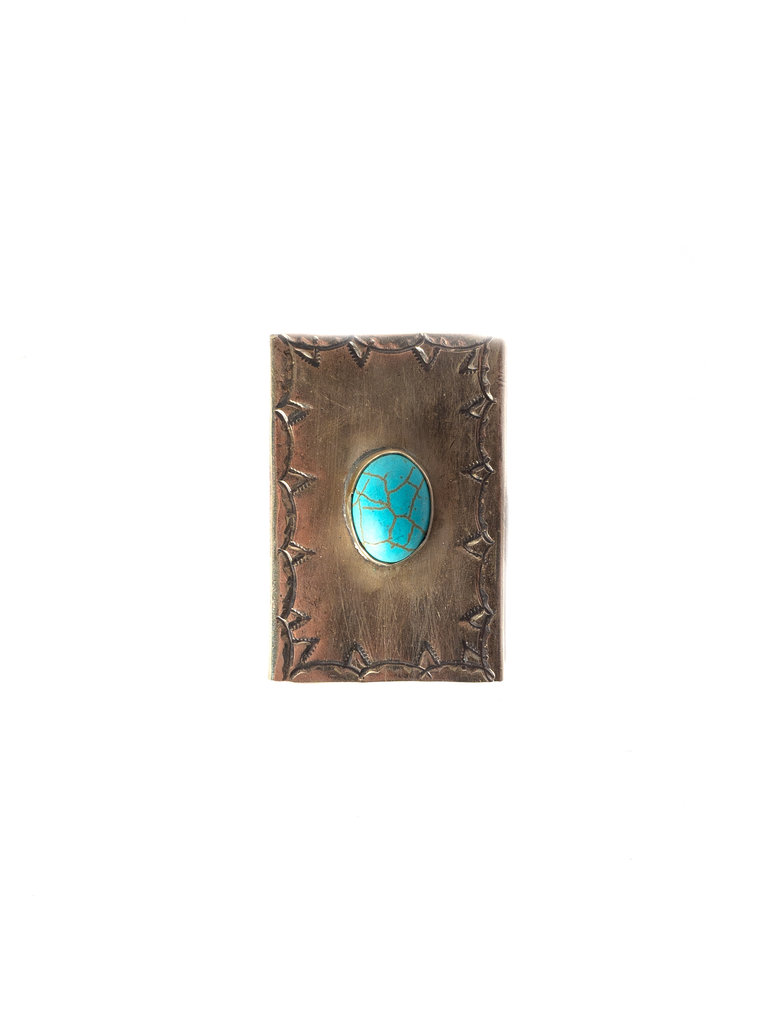 Stamped Matchbox Cover With Turquoise