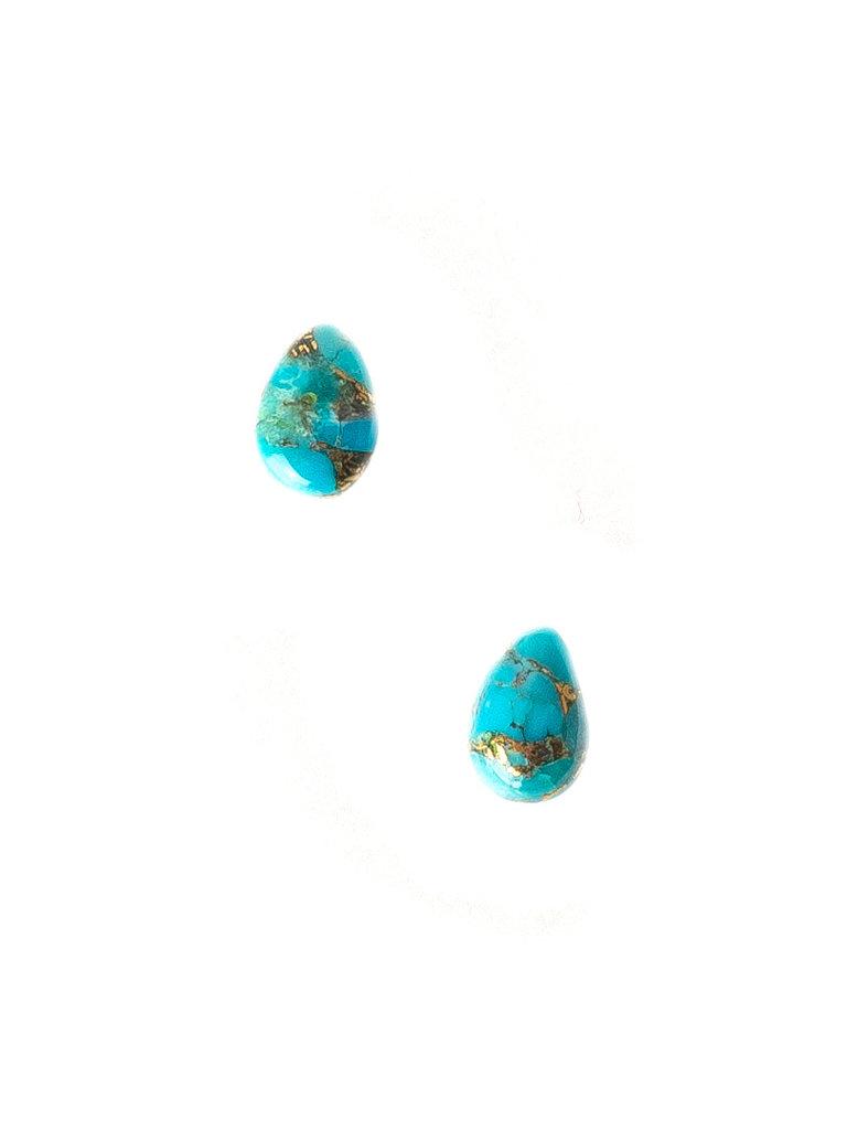 Copper Turquoise Teardrop Studs