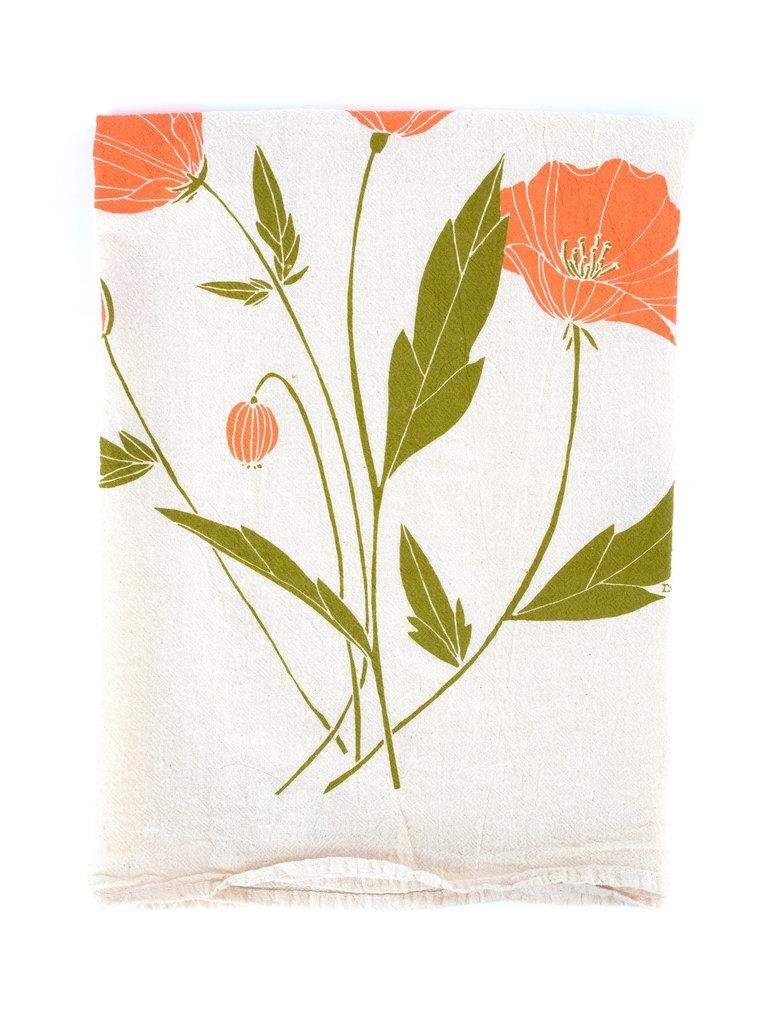 California Poppy Flour Sack Tea Towel