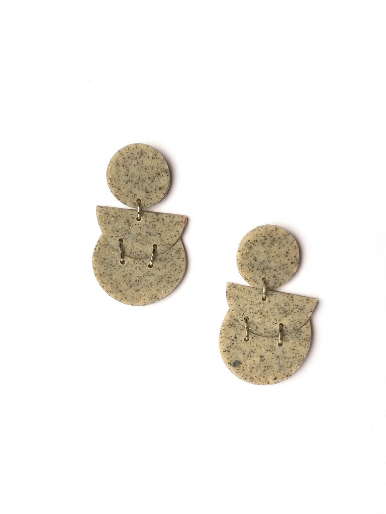 Stella Clay Earrings, Granite