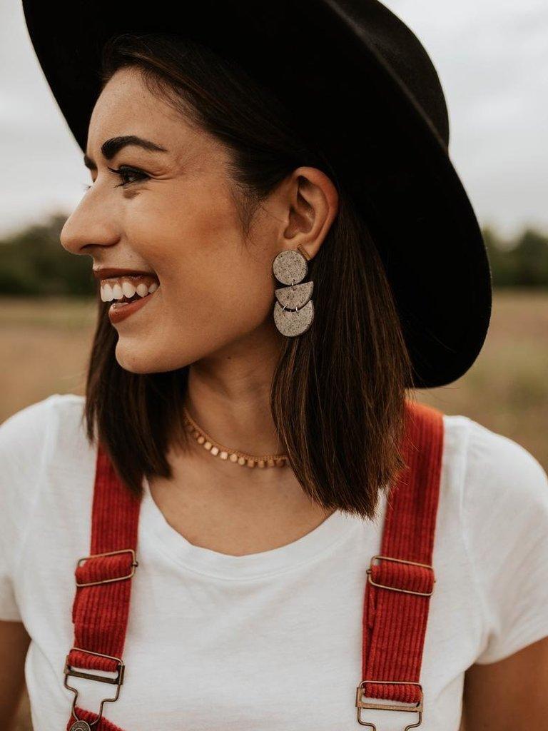 Stella Clay Earrings, Granite