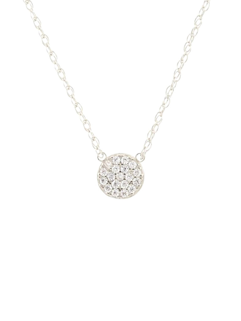 Round Pave Charm Necklace, Silver