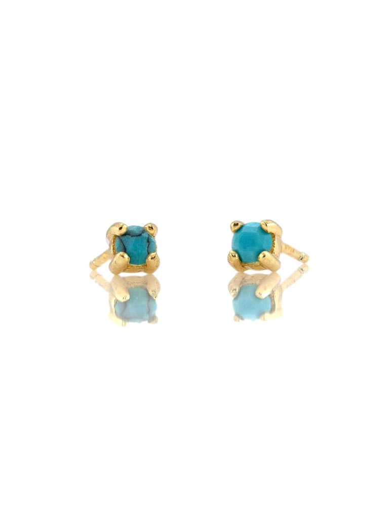Prong Set Turquoise Studs, Gold