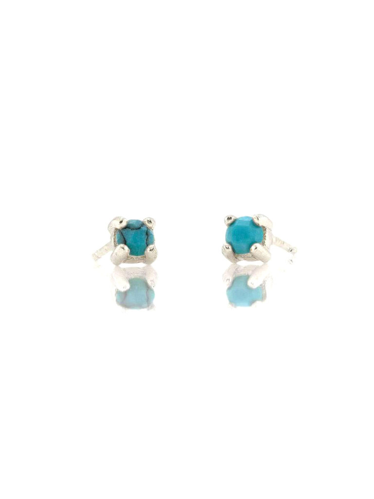 Prong Set Turquoise Studs, Silver