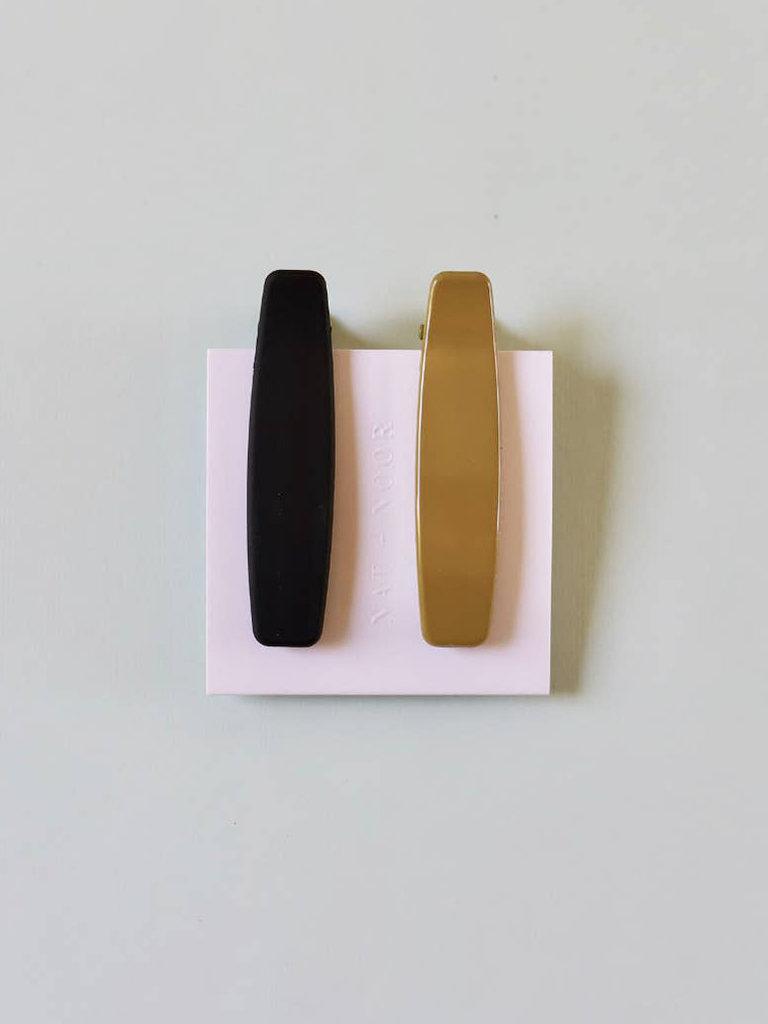 Lani Clip Set, Black & Olive