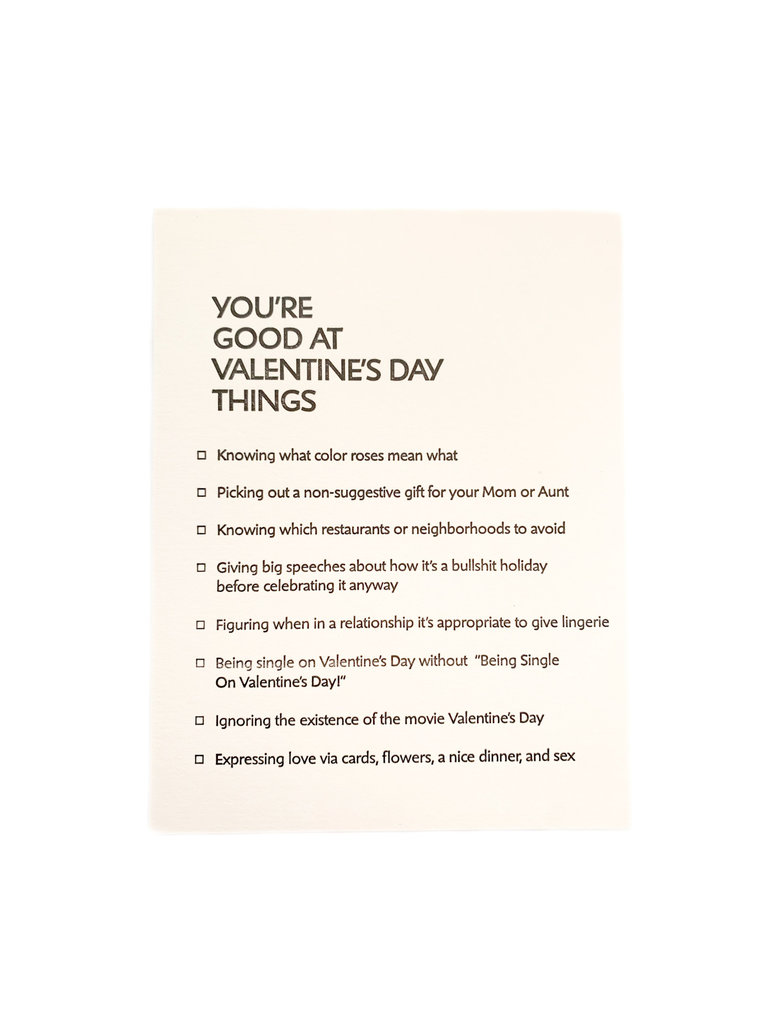 Good at Things Valentines Day Card