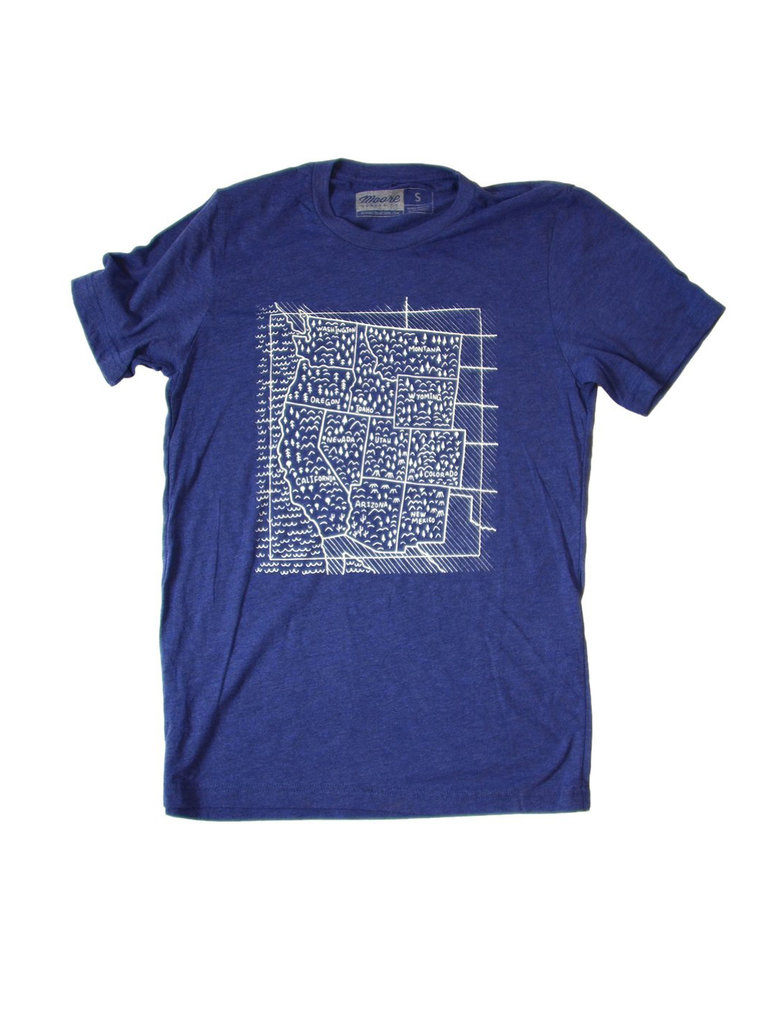 Travel West Tee, Blue