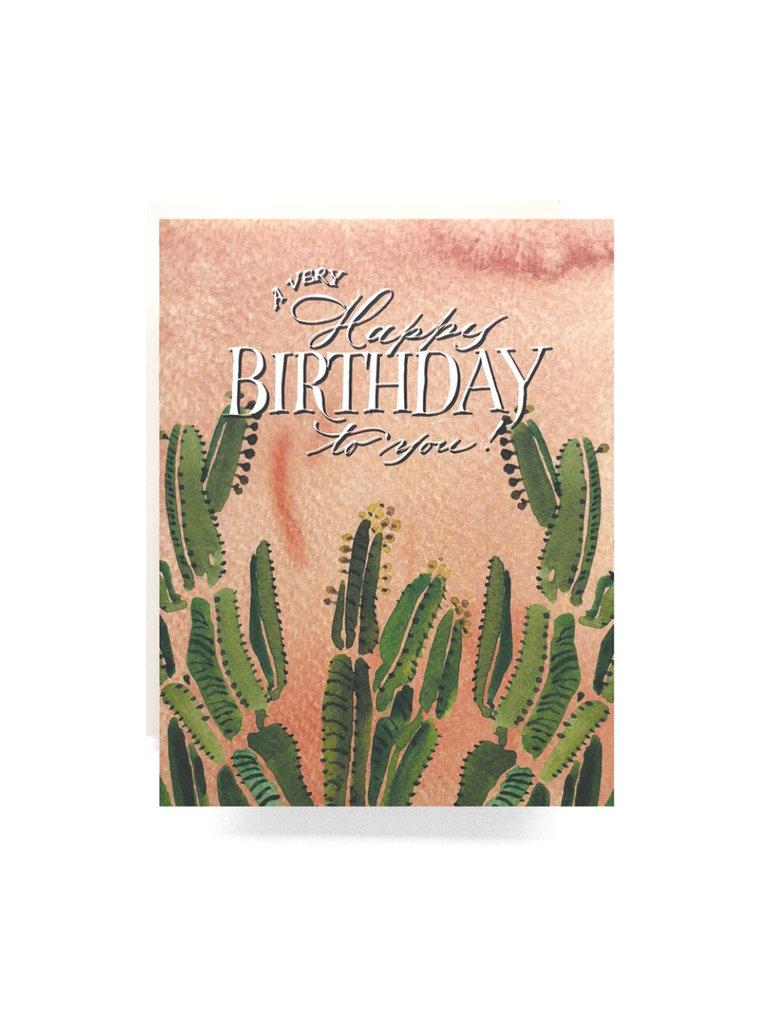 Coral Cactus Birthday Card