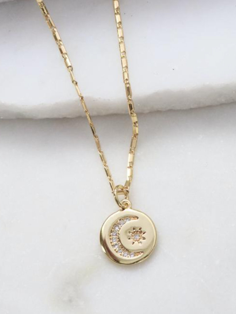 Moon And Star Pave Necklace